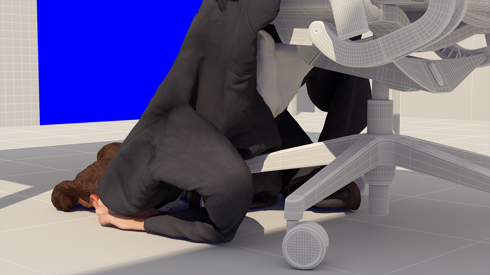 Alan Warburton, still from  Homo Economicus  (2018) 3-channel HD computer generated simulation