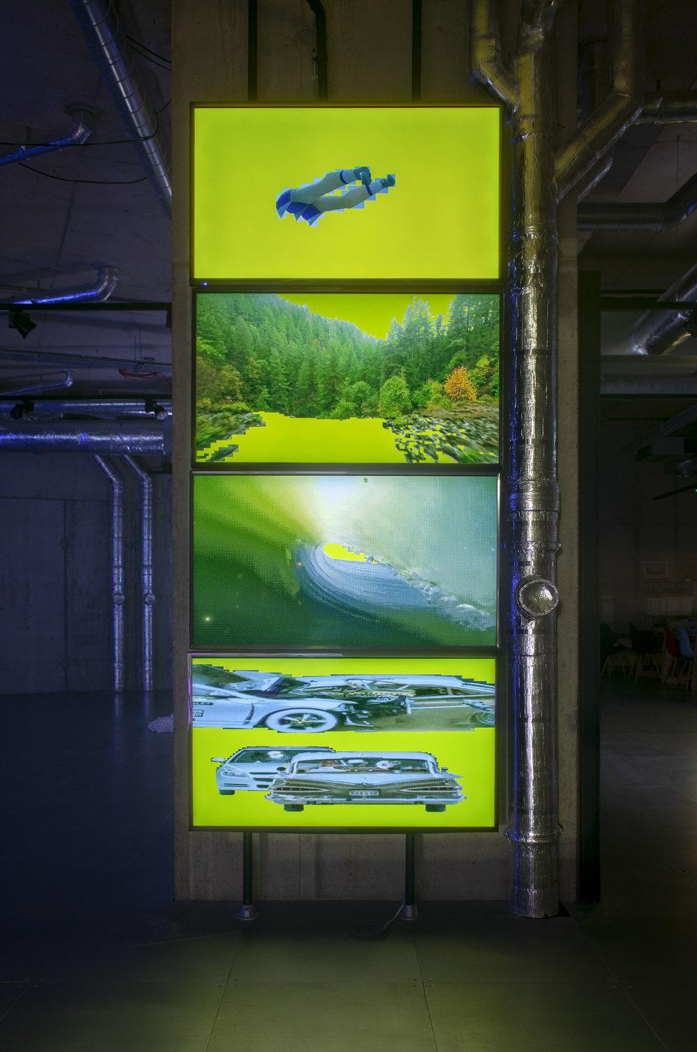 Lorna Mills - Yellowwhirlaway (2017) 4-channel Animated GIF installation