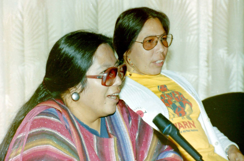 Phyllis Young and Madonna Thunder Hawk in the early 1980's in Rotterdam, the Netherlands