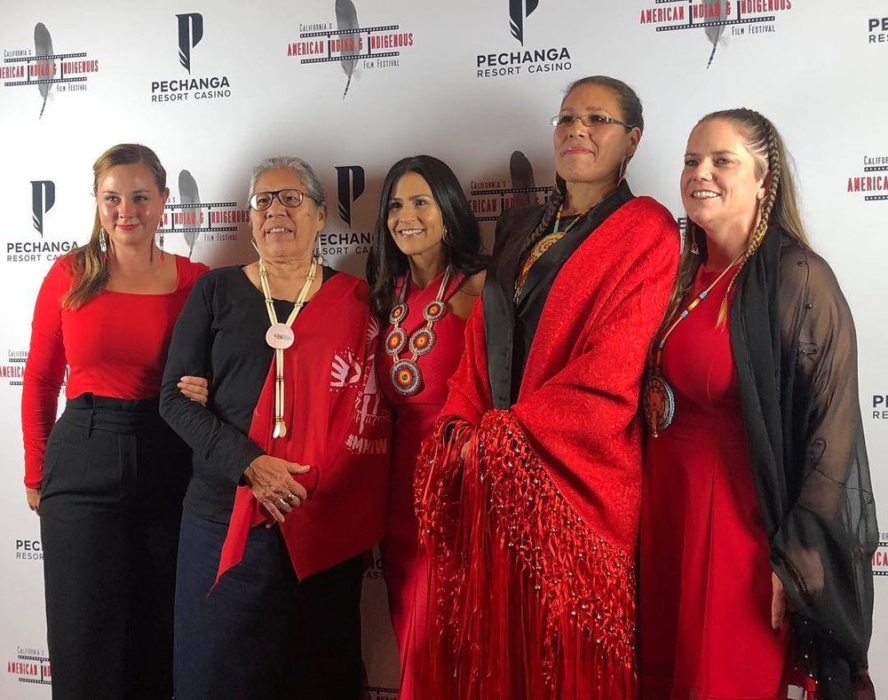 Warrior Women was the opening night film for California's American Indian & Indigenous Film Festival. From left to right: Producer Anna Marie Pitman, Madonna Thunder Hawk, festival director Joely Proudfit, Marcella Gilbert, and director Elizabeth Castle