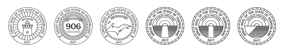 I tried a handful of different ideas for the seal design before deciding on a geometric style.