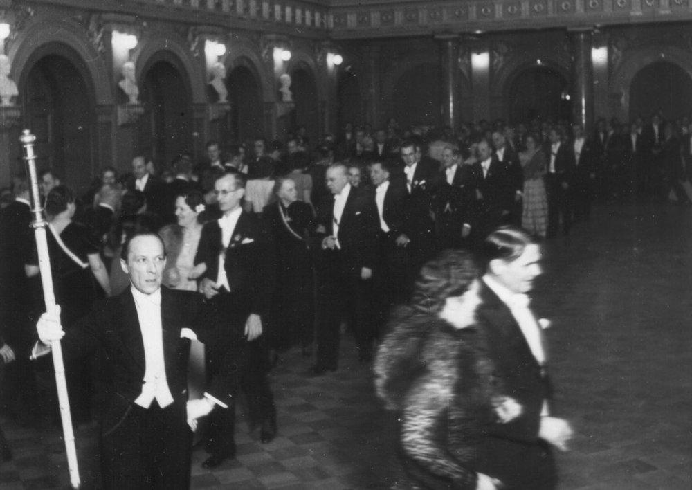 In high spirits in 1945.