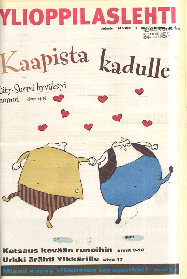 The Student Union's support for gender and sexual minorities was visible in this issue from 1999. The same issue also covered the establishment of a child care service at the University.  Picture details: Ylioppilaslehti 9/1999