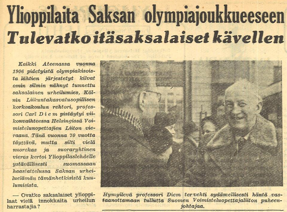 Clickbait title from 1952! In an article about the Olympics, the rector of a sports university in Cologne wondered whether the representatives of East Germany were planning to take tents with them to Helsinki – it had been announced that they would not travel or be accommodated with the West Germans.  Picture details: Ylioppilaslehti 2/1952