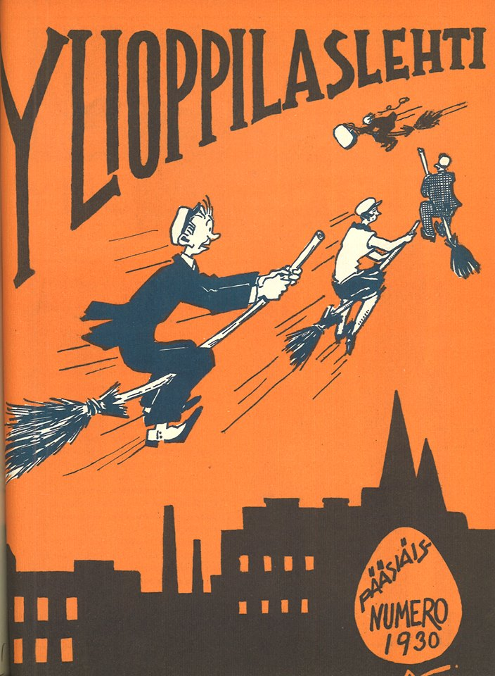 Ylioppilaslehti has featured colourful cover art from the beginning. The pictured cover is from the Easter issue of 1930, with students taking a flying start to celebrate the holiday.  Picture details: Easter issue of Ylioppilaslehti, 1930