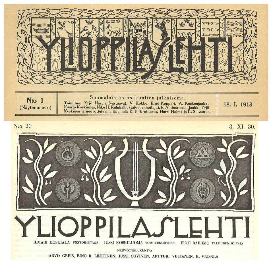 The Finnish-language student nations of the Student Union, at the time divided by the language debate, established Ylioppilaslehti in 1913. The emblems of the participating nations were visible in the magazine's original logo. The joint project of student nations grew into a magazine for a wider Finnish-speaking student community – the logo used in 1930 shows the emblems of the University of Helsinki, the Helsinki University of Technology, the University of Turku and the Helsinki School of Economics.  Picture details: Title images from issues 1/1913 and 20/1930 of Ylioppilaslehti