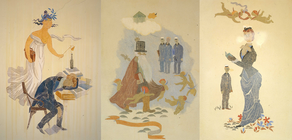 Tove Jansson's (1914-2001) paintings in the New Student House are some of the latest additions to the student union's art collection. In spite of the fantastical elements, Jansson's pieces are an apt depiction of the everyday life of a student.  Image: HYY's archives (cropped)