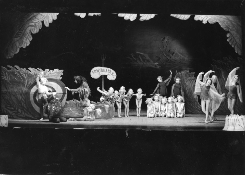 Not all post-war student culture has aimed for societal change or sheer shock value. Children have had their share, too, as this play by Ylioppilasteatteri called Isä peikko ja Simpukkaukko ('Goblin Father and the Clam Man') from 1952 indicates.  Image: HYY's archives