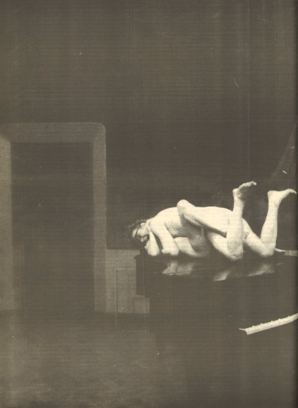 """Artistic experimentation and societal criticism grew more common in the 1960's. Mattijuhani Koponen (b. 1941) was one of the great underground visionaries of Finland back in his day. The simulated sex scene of Kain ja Abel (""""Cain and Abel""""), which was performed at the Old Student House on December 2, 1968, resulted in an eight-month prison sentence for the artist.      Image: Ylioppilaslehti 9/1985 (cropped)"""