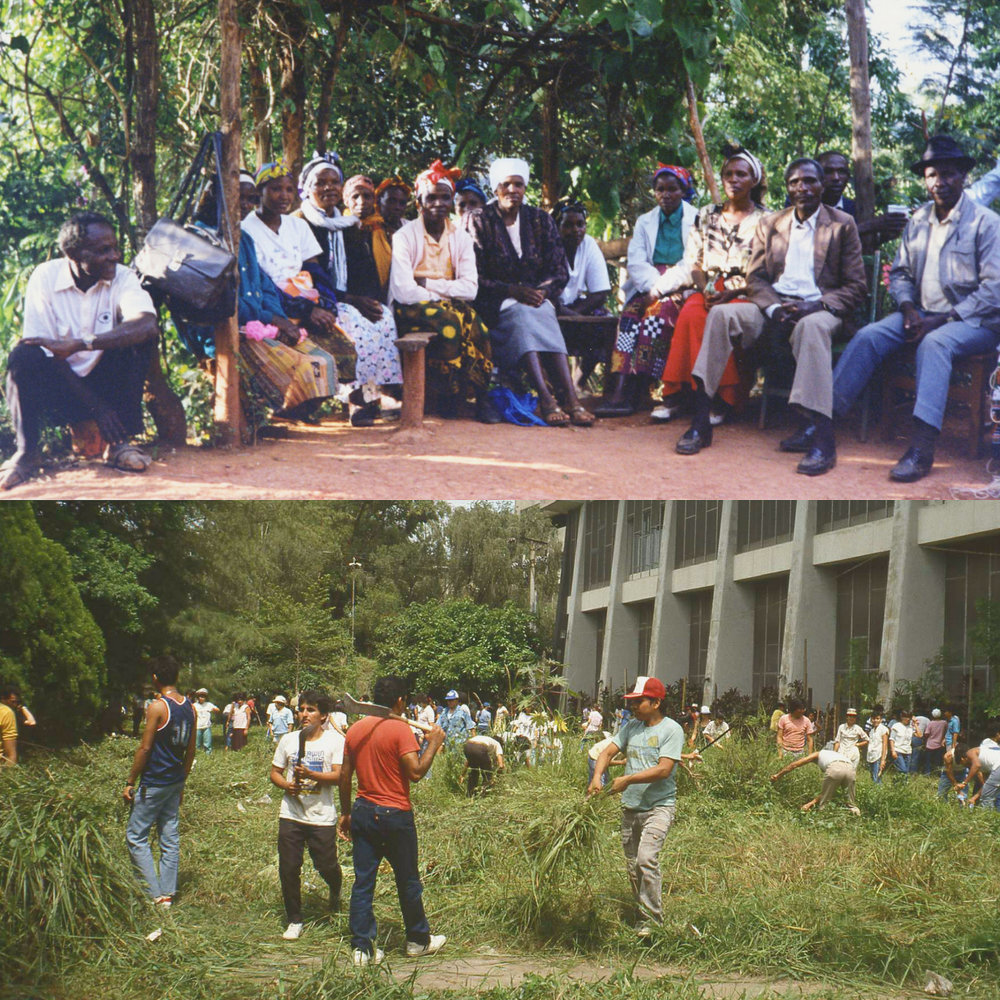 HYY's efforts to improve equality are not limited to students or even to Finland. The Student Union's Development Cooperation Committee strives to improve equality in the global scale. HYY's past development cooperation projects include El Salvador in 1989-1993 and in Kenya in 1998-2000 (with the Green Belt Movement).   Photos: HYY's archives