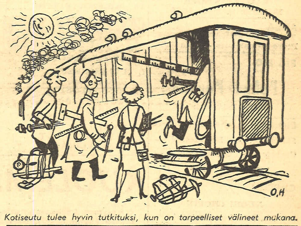 Home regions are also popular research subjects. Besides ethnologists, student nations and companies have also been among those that have conducted collection and research work at students' home regions. The Ylioppilaslehti student magazine featured an image of enthusiastic home region researchers in 1953.  Photo: Ylioppilaslehti, issue 20 / 22 May 1953