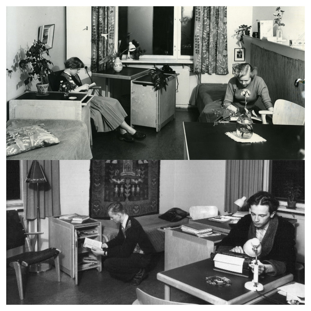 With the exception of family apartments, a strict gender segregation was maintained in Domma's buildings: female students lived on their own side and male students on theirs.  Photos: HYY's Archives (1950s)