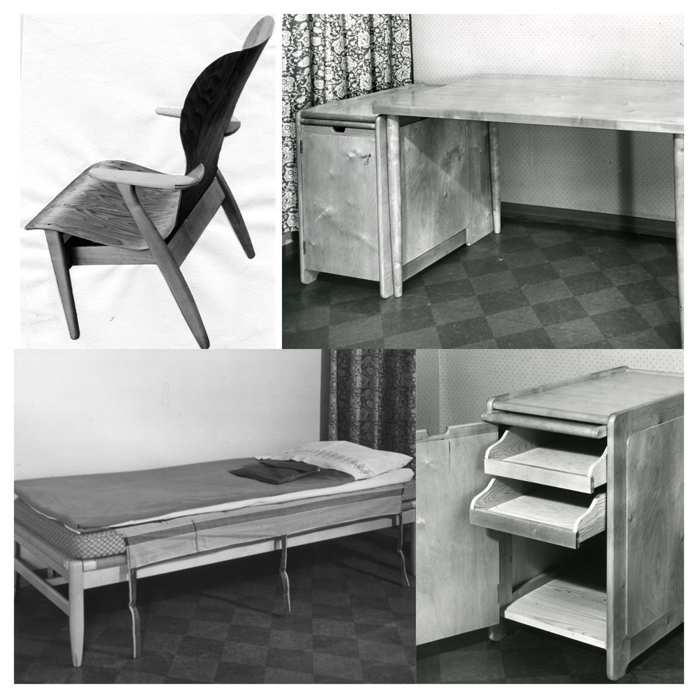 Designer Ilmari Tapiovaara was responsible for the furniture and interior design of Domus Academica. Tapiovaara's furniture, the Domus chair in particular, are now considered as classics of Finnish design.  Photos: HYY's Archives (1940s)