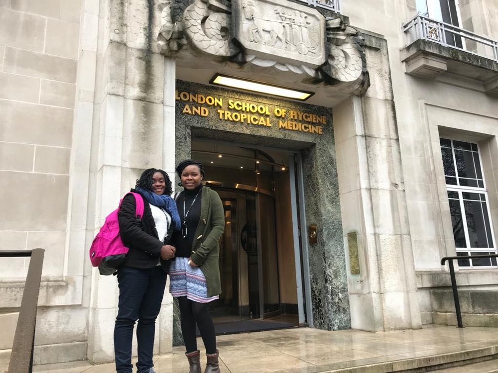Modupe and Tila outside the London School of Hygiene and Tropical Medicine