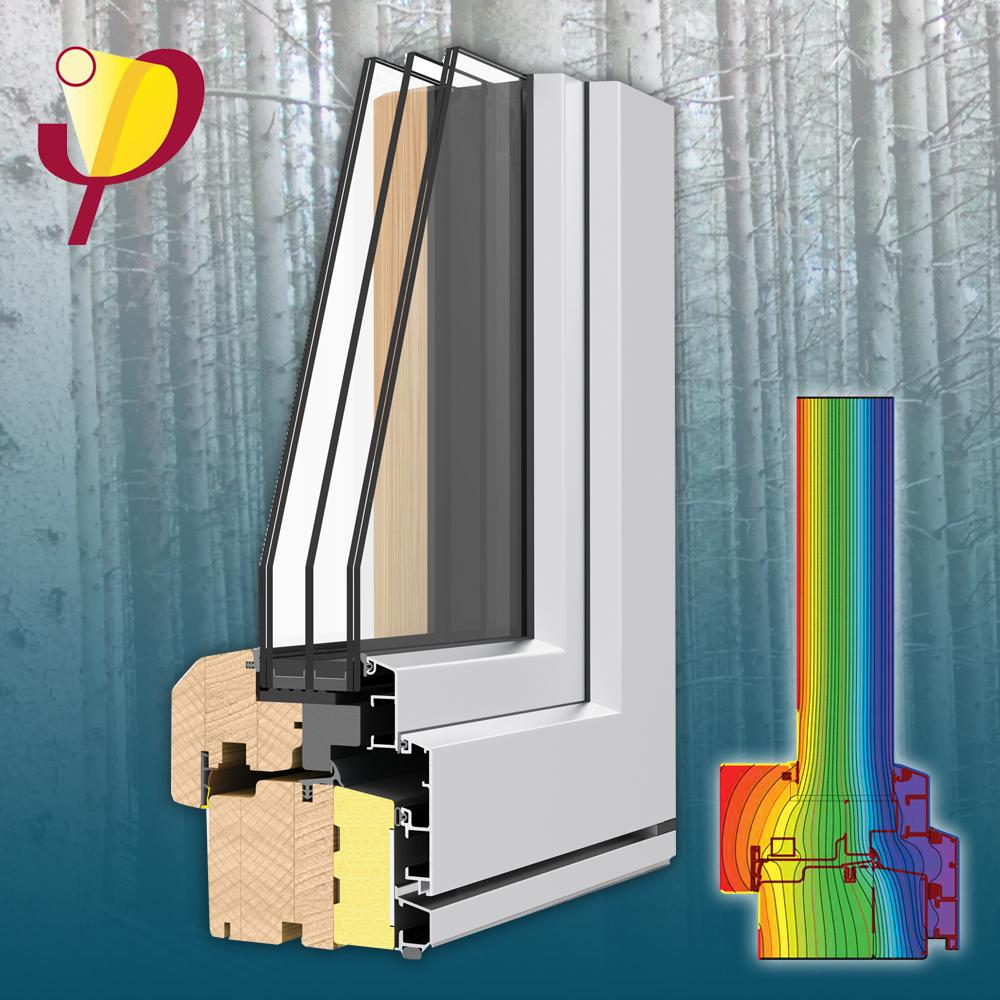 termoscudo - Passzív ház rendszerMűszaki paraméterekÖsszérték: Uw= 0,7 W(m²K)Beépítési mélység: 108,5 mm, szigetelt tok és szárnyHőátbocsátás: Uf = 0,78 W/(m²K)3 gumitömítésÜvegezés: 3 rétegű, 52 - 54 mmÜveg hőátbocsátása: Ug = 0,5 W/(m²K)Hangszigetelés: 43 Rw (dB)
