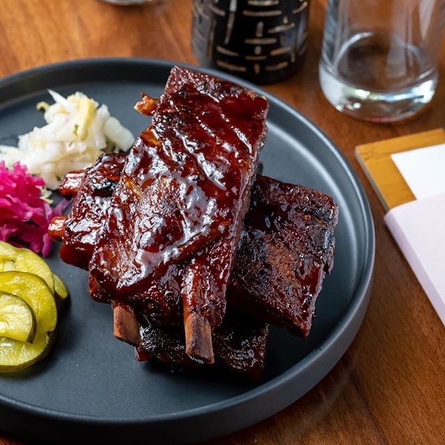 Did you know we have ribs? our Korean bbq pork ribs are sweet and spicy paired with an assortment of house pickled vegetables. Come get some tonight! We open for dinner at 5:00 #eatbr #geauxdowntownbr #eatsoji #midcitybr