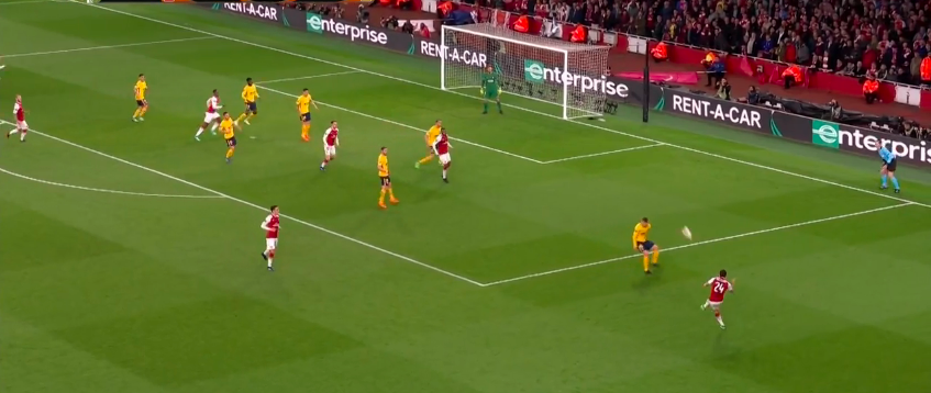 When Arsenal did have players in the box to create chances off of the crosses they unfortunately missed the on the quality of the cross.  This was cleared at the near post by Godin.