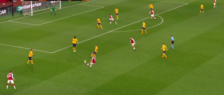 Deep service from Jack Wilshere looking for Welbeck behind the defense.  Again, 1v2 in the box and the ball was cleared away.