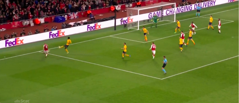 Goal by Lacazette.  Notice the body shape of the #2 Godin and #19 Hernandez, facing their own goal.  When defenders are put in this type of situation it is very difficult to get a good jump on the ball and you must flick it away which ends in a poor clearance.