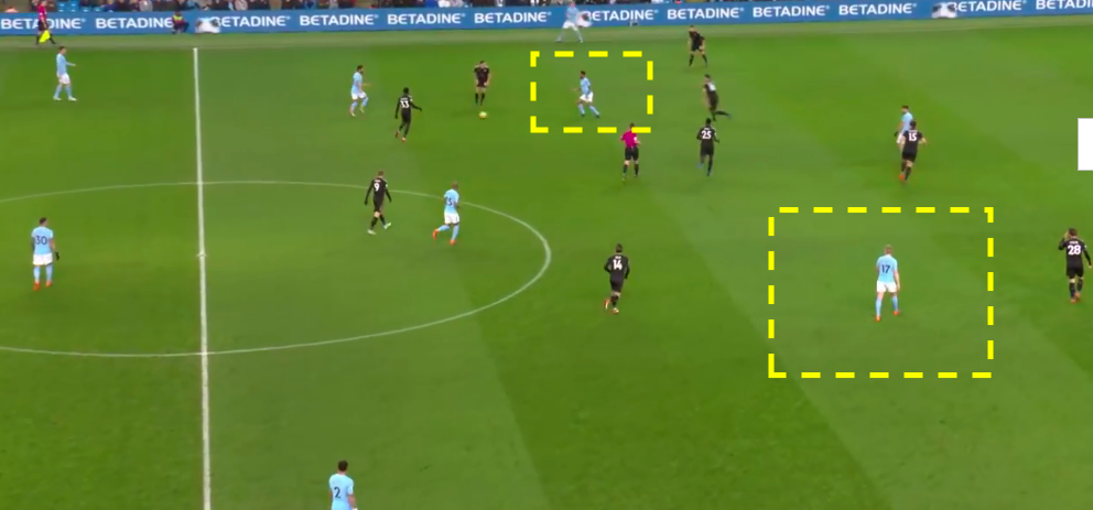 In this instance Sterling has moved inside to occupy the space between the defensive lines.  Notice there is a player in the wide channel, along with Aguero higher up the field to create a threat in behind the defense.