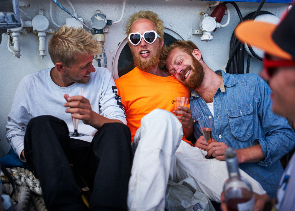 Two gingers and a blondie on a boat Photo: arto saari