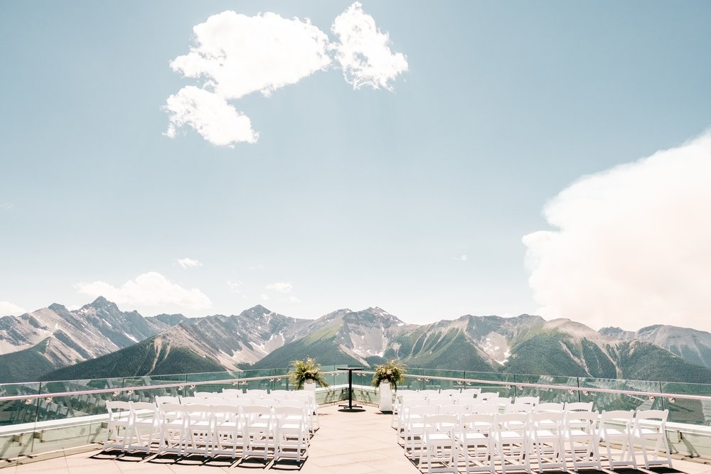 Sky Bistro Mountaintop Wedding     Banff National Park, Alberta    Photos by Darren Roberts  Living near the Rocky Mountains, let's just say there are many mountain venues. Sky Bistro literally sets itself apart with mountaintop dining at 7,486 ft.I was incredibly excited when Brooke and David trusted in me to execute their mountain top wedding reachable only by gondola! This wedding was featured at Rocky Mountain Bride.