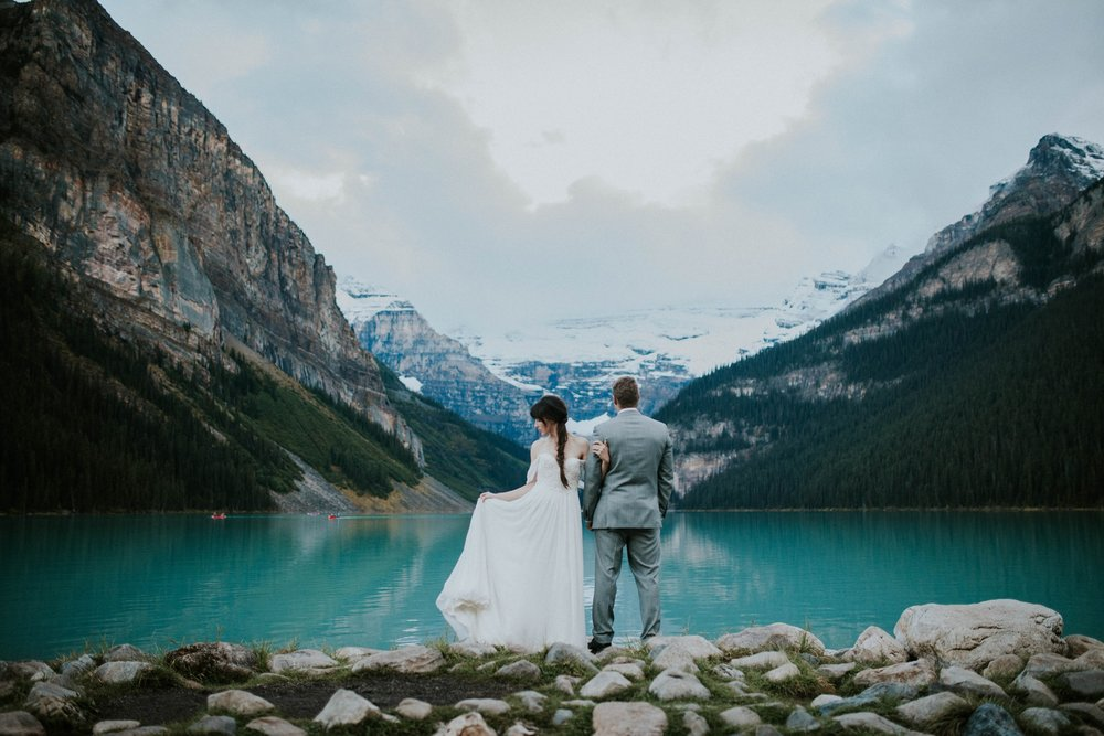 Lake Louise Elopement     Lake Louise, Alberta    Photos by Karra Leigh  When you imagine a secluded fairytale location, Lake Louise is the place. Nestled in the Canadian Rockies this world class destination at Chateau Lake Louise is truly what dreams are made of.This was featured on Junebug Weddings.