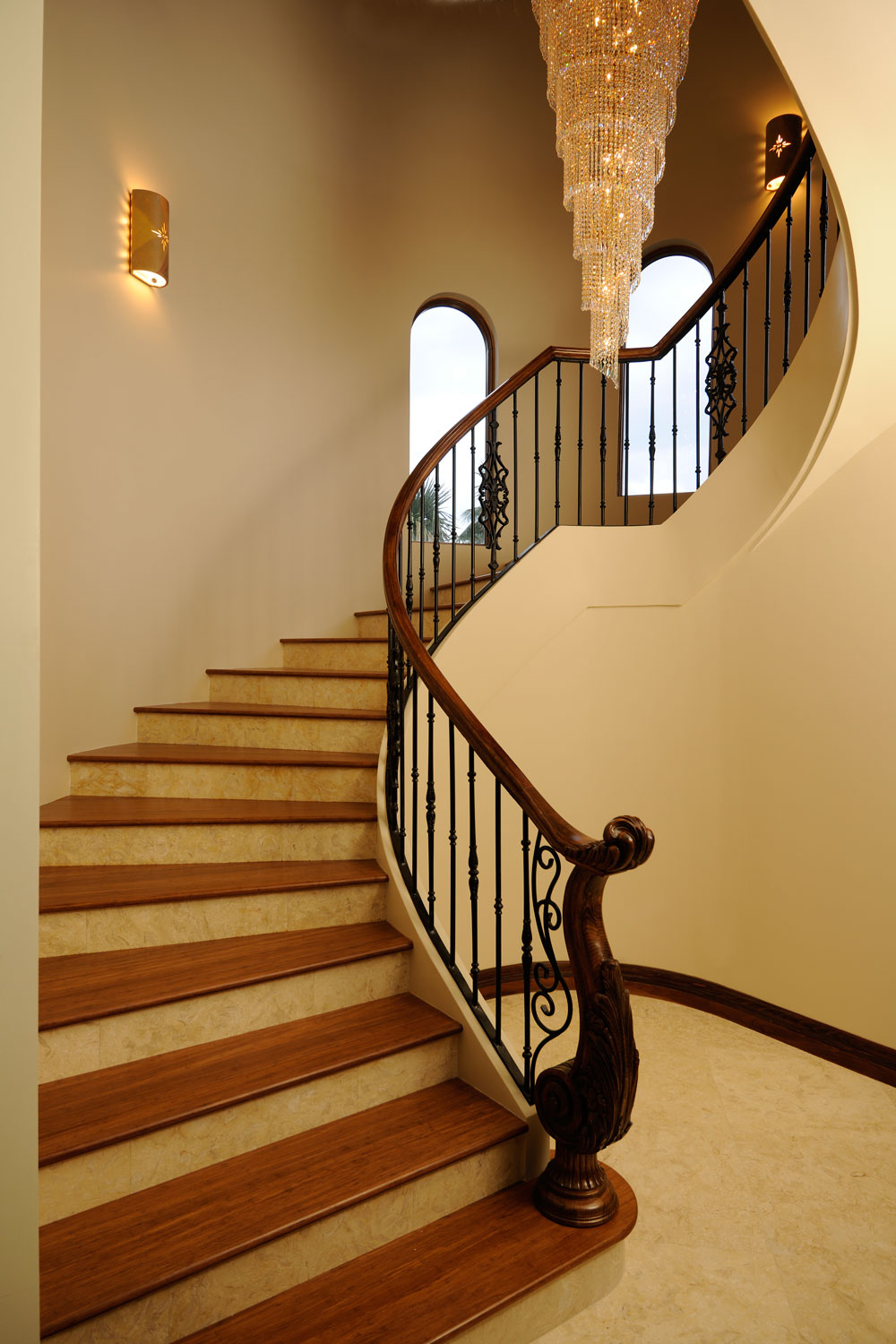 Modern Mediterranean Home Curved Staircase