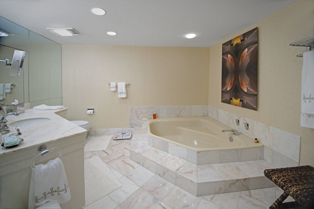 Transitional Home Her Master Bath