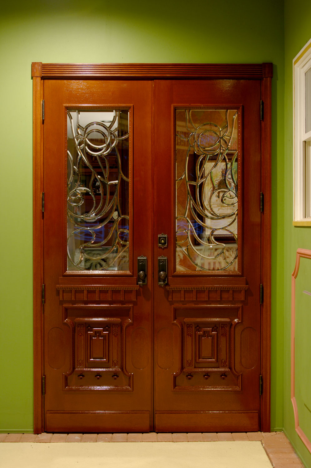 Victorian Home Custom Wood Door with Leaded Glass