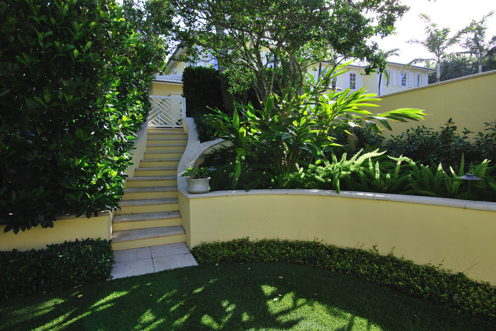 Caribbean Colonial Home Landscape, Exterior Stairway