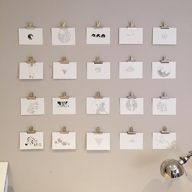 It is all white outside so I re arranged my postcards to be all white too. 20 of my favourites from my January illustration challenge. #illustration #blackwork #homedecor #featurewall