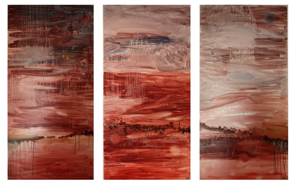 2. METAMORPHOSIS-A triptych of a fantasy landscape, oil on board. The original painting has been sold, however limited colour prints signed by the artist can be ordered.