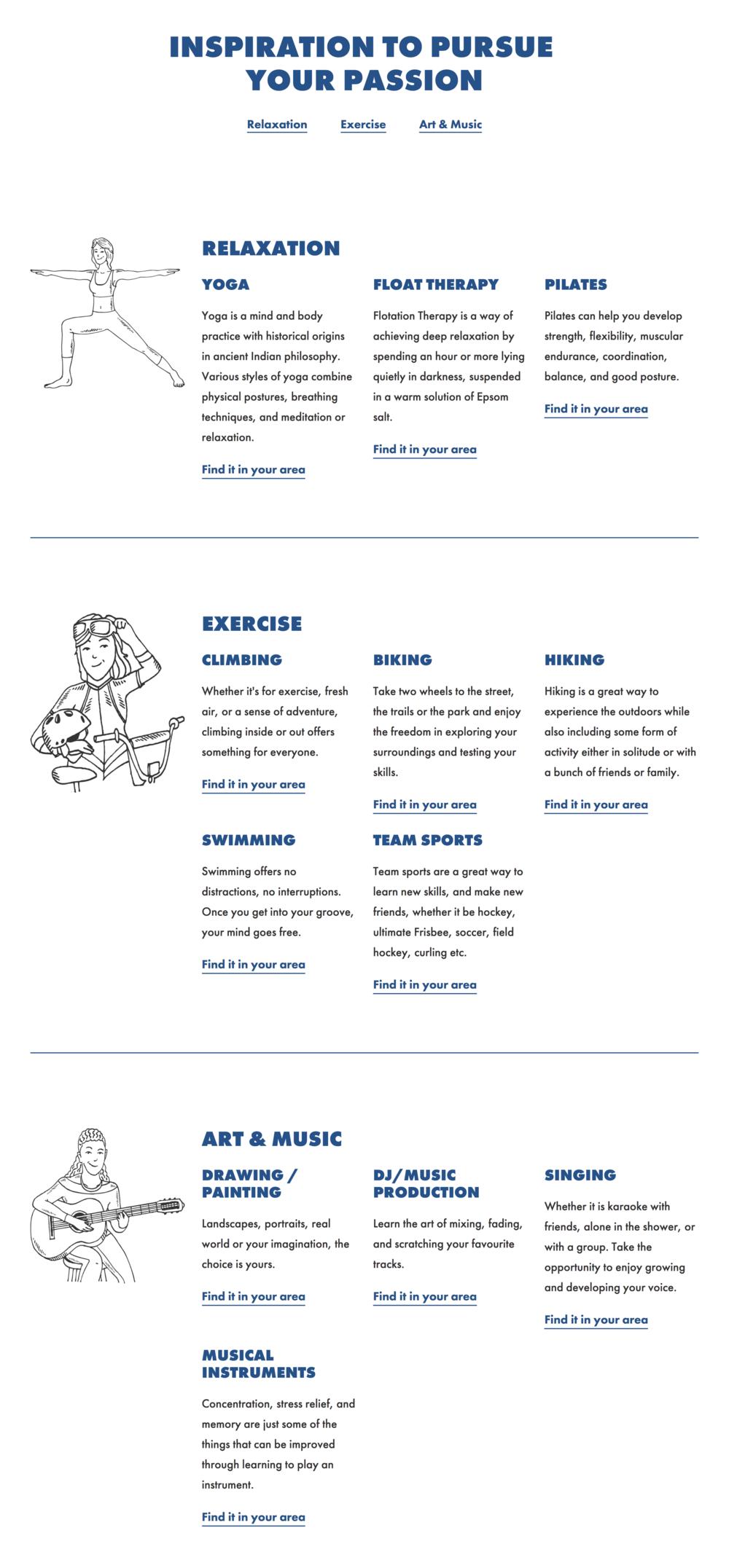 La section Découvrir du site web