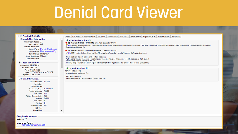 Denial Card Viewer