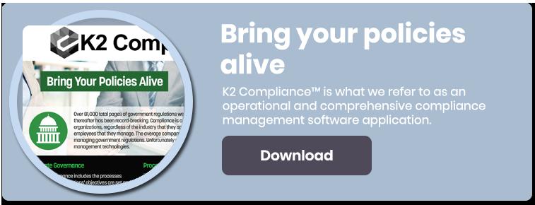 K2 Compliance is a comprehensive compliance management software application.