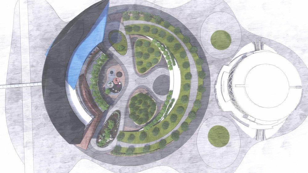 Topview plan of proposed Coliseum park complex.