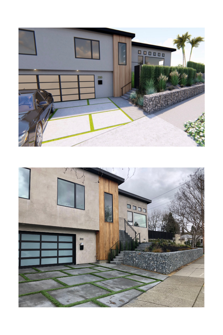 Above: A Yardzen design in Marin County incorporating a gabion used for form and retaining function. Below, the design coming to life.