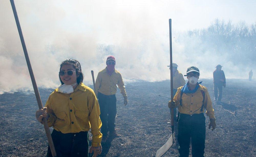 Annalyn Chia, Bernard Anderson, Liliana at the prairie burn