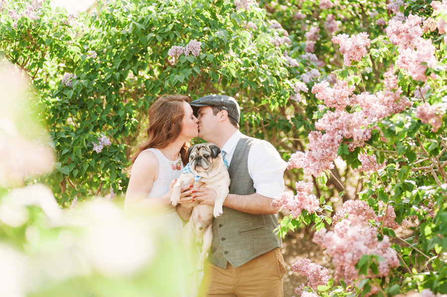 Engagement Session at Lilacia Park with Pug by Two Birds Photography05