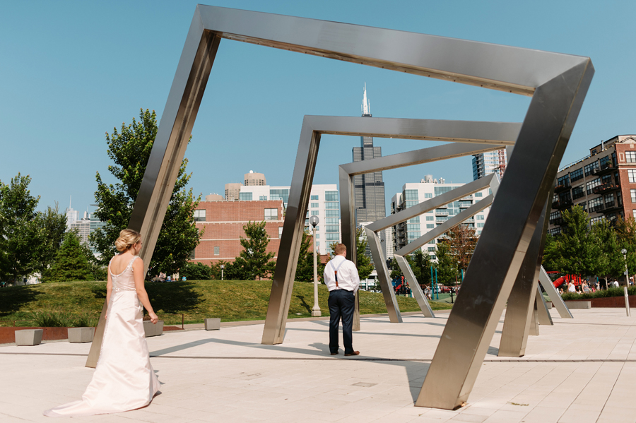 Chicago Navy Pier Rooftop Lemon Themed Wedding by Two Birds Photography 05