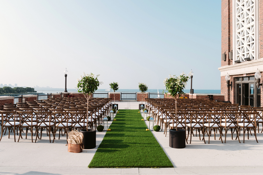 Chicago Navy Pier Rooftop Lemon Themed Wedding by Two Birds Photography 12