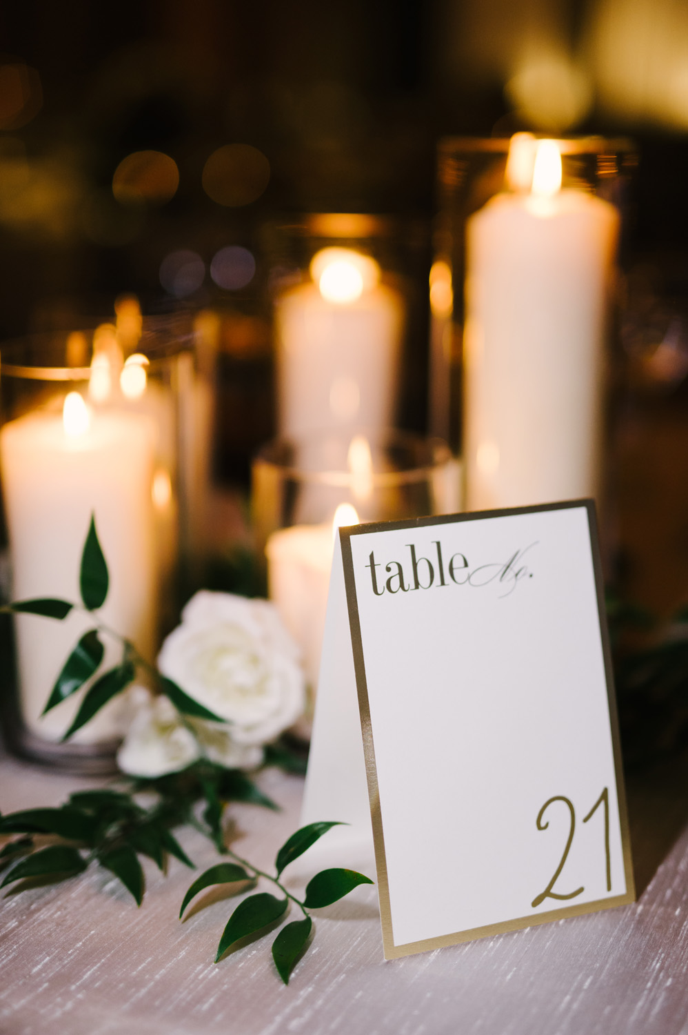 Detail photo of centerpieces at wedding reception.