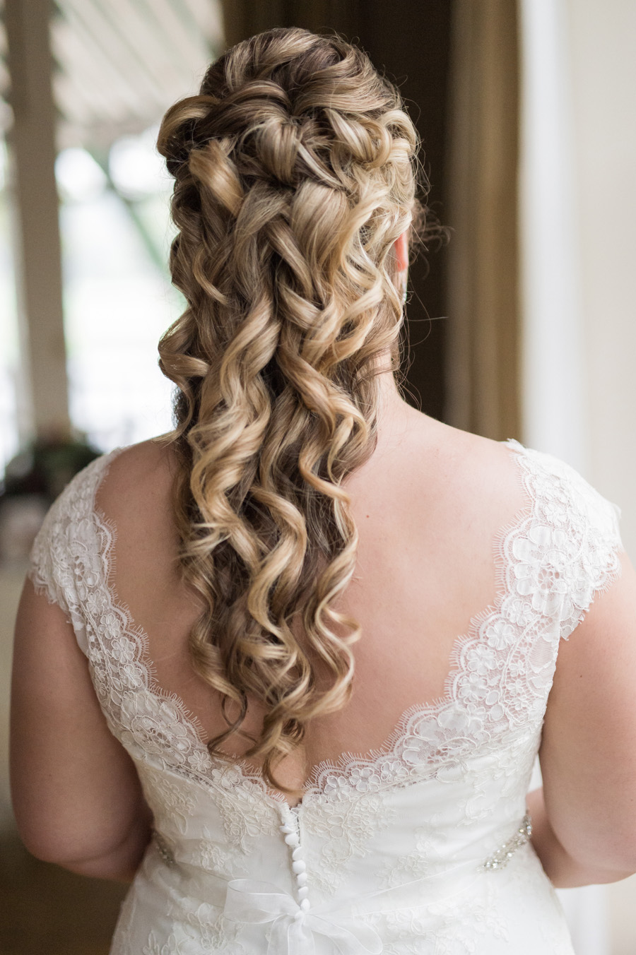 Detail photo of bride's hair.