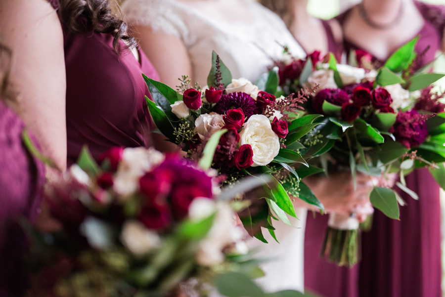 Detail photo of bride and bridesmaids flowers.