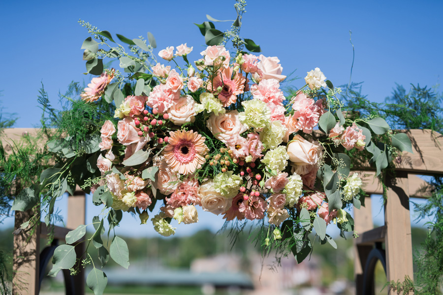 Floral decor at wedding ceremony.