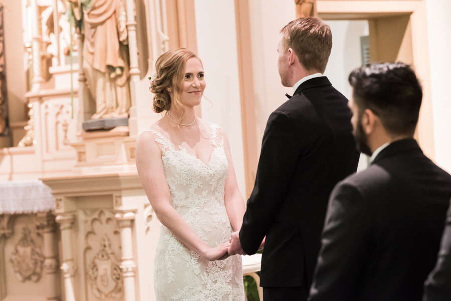 Bride and groom's church wedding ceremony.