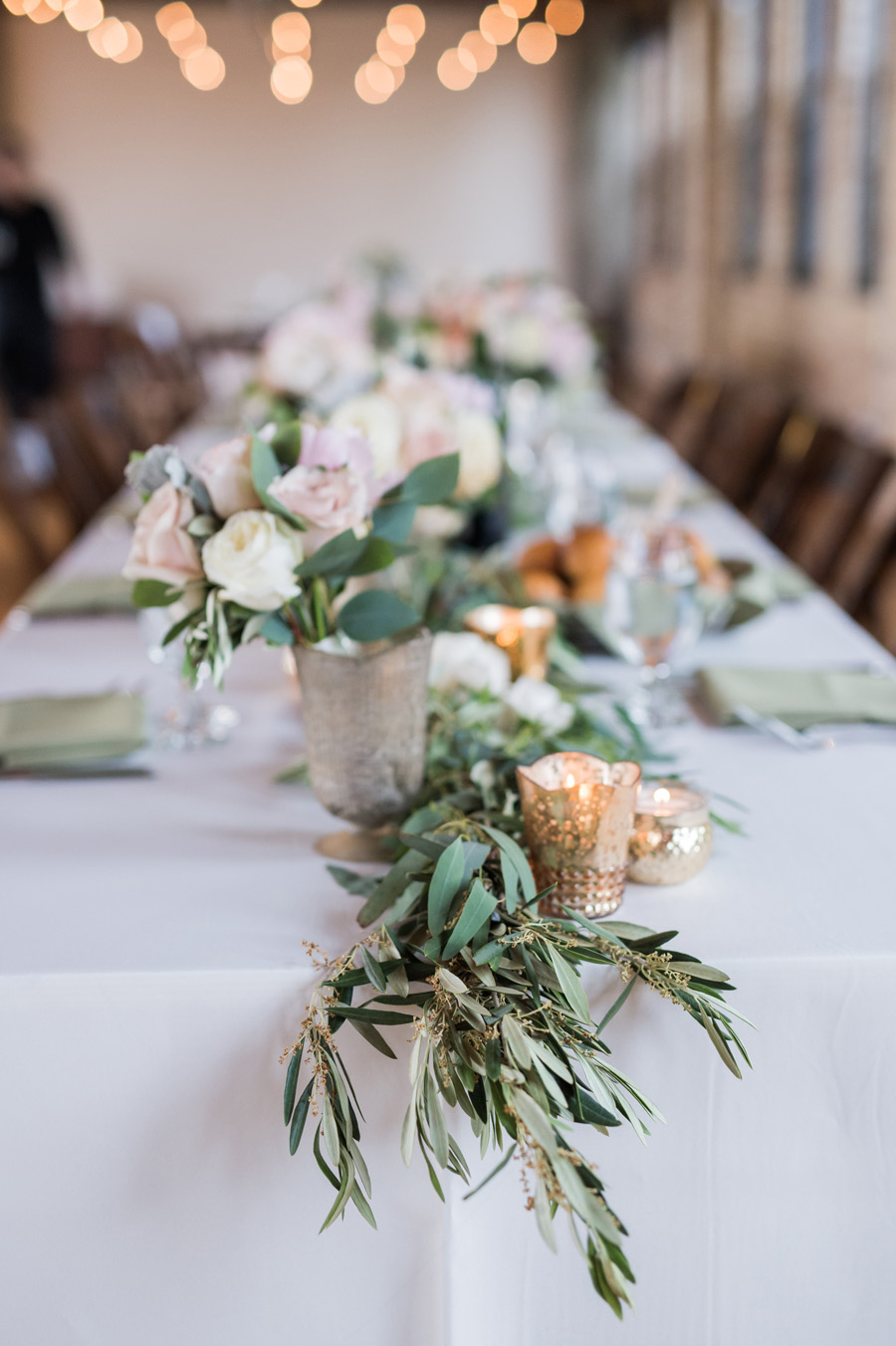 Detail photo of reception table setting.