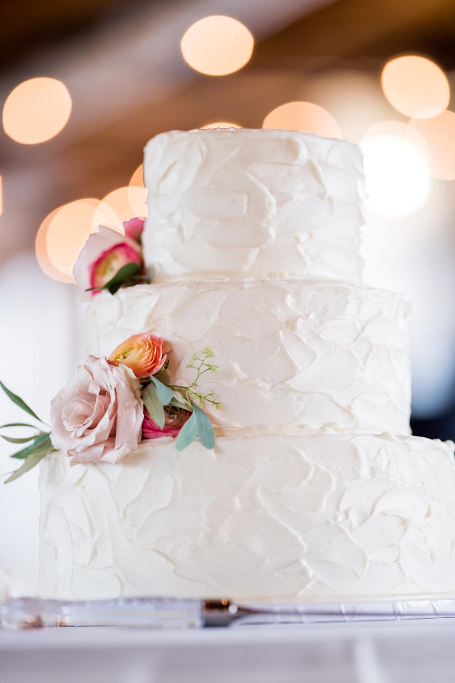 Detail photo of wedding cake.