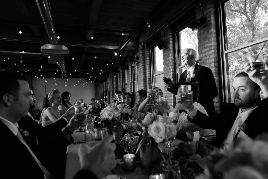 Dad gives toast at wedding reception at Ravenwood Event Center.